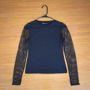 Zara Fishnet Sleeve Top